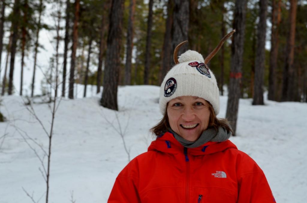 Caro on her visit to northern Sweden sporting reindeer antlers