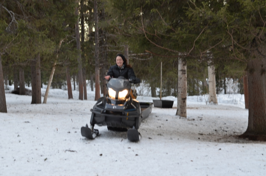 Camera's can't capture how fast Amanda was driving this snowmobile, hence the blurry picture.  More food for the reindeer.