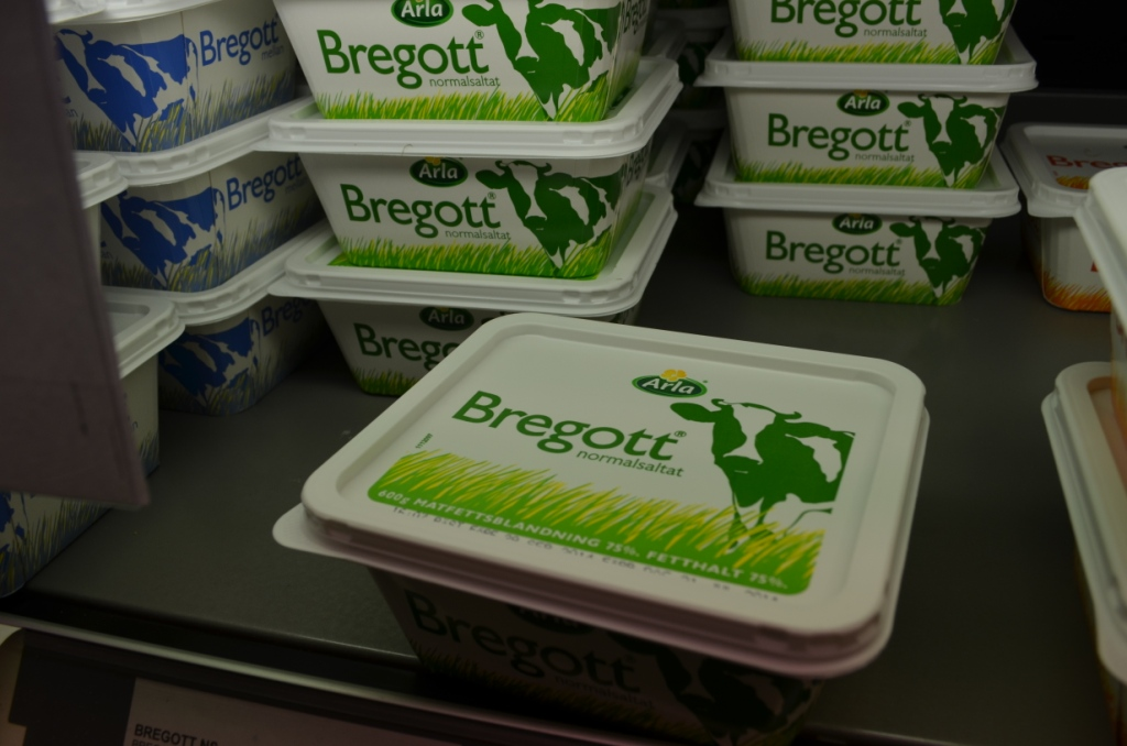 Bregott: butter mixed with a small amound of canola oil to make spreading easier. It also has a cow on it, but it is merely a drawing...
